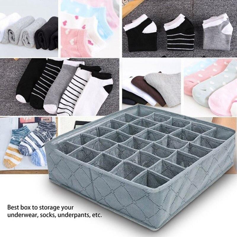 30 Grids Underwear Socks Storage Drawer Closet Bamboo Charcoal Organizer Box -OPK