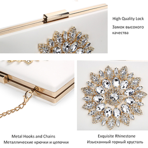 Image 4 - White Women Clutch Bag Wedding Clutch Purse Bridal Evening Crystal Summer Bags for Women 2020 Luxury Small Crossbody Bags ZD1333