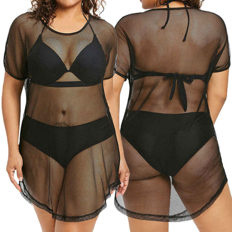 Wanita Seksi Mesh Bikini Cover Up Swimsuit Beachwear Ukuran Besar Hitam Kausal Gaun XL-5XL