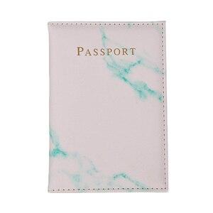 Unisexe passeport couverture marbre Style cuir ID carte de crédit couverture porte-passeport femmes hommes paquet voyage portefeuille sac à main pochette