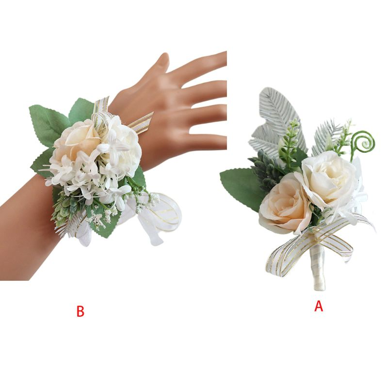 Западный ручной работы цветок розы искусственный суккулент Свадебный бутоньерка на запястье корсаж