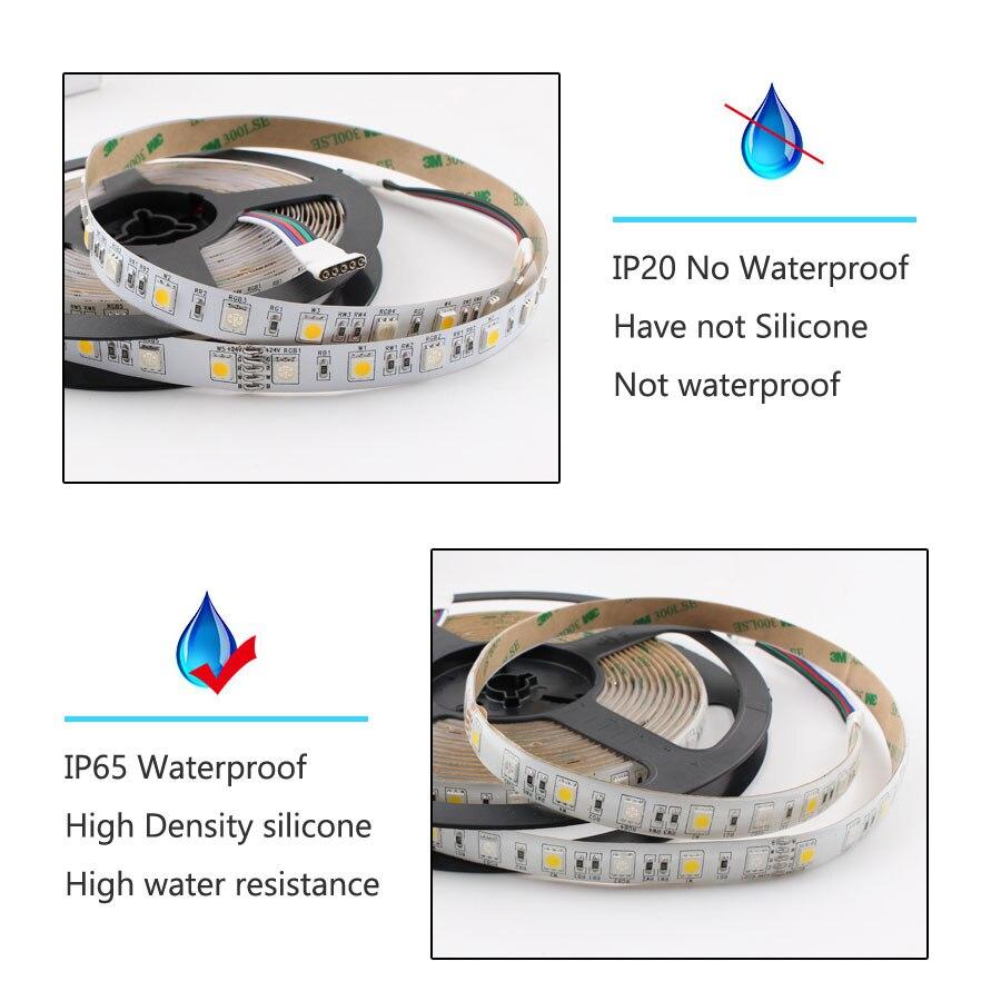 H89e665b9008e4e35a4f7b16df1793784J LED Strip 5050 DC 24V RGB WarmWhite 24 v 5 meter waterproof flexible Light stripe 60LED/MLed Tape Luces lamp Ribbon tv backlight