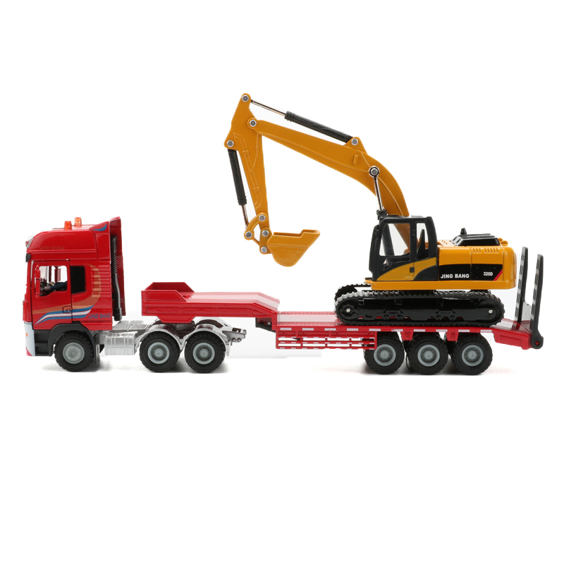 JINGBANG 1:50 Flatbed Trailer Trucks Toy Alloy Trailer Roller Excavator Loader Truck Model Car Toys For Boys Digger Forklift rysunek kolorowy motyle