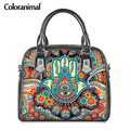 Coloranimal PU Schulter Taschen Hamsa Hand Muster Frauen Luxus Handtaschen Mode Messenger Tasche für Damen Mädchen Reise Lagerung Tasche
