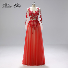 Formal Prom Gown with Long Sleeves Real Photo Evening Dresses 2019