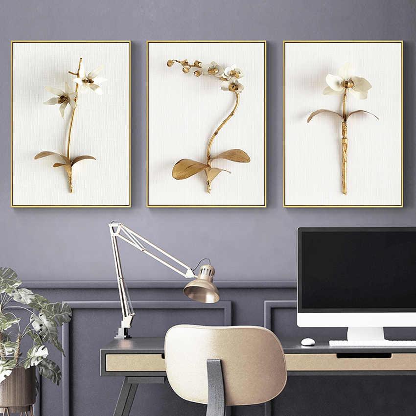 枠組壁キャンバスアート抽象黄金の花 paitning 現代高級ポスターやプリントリビングルームベッドルームのファッションアートの装飾