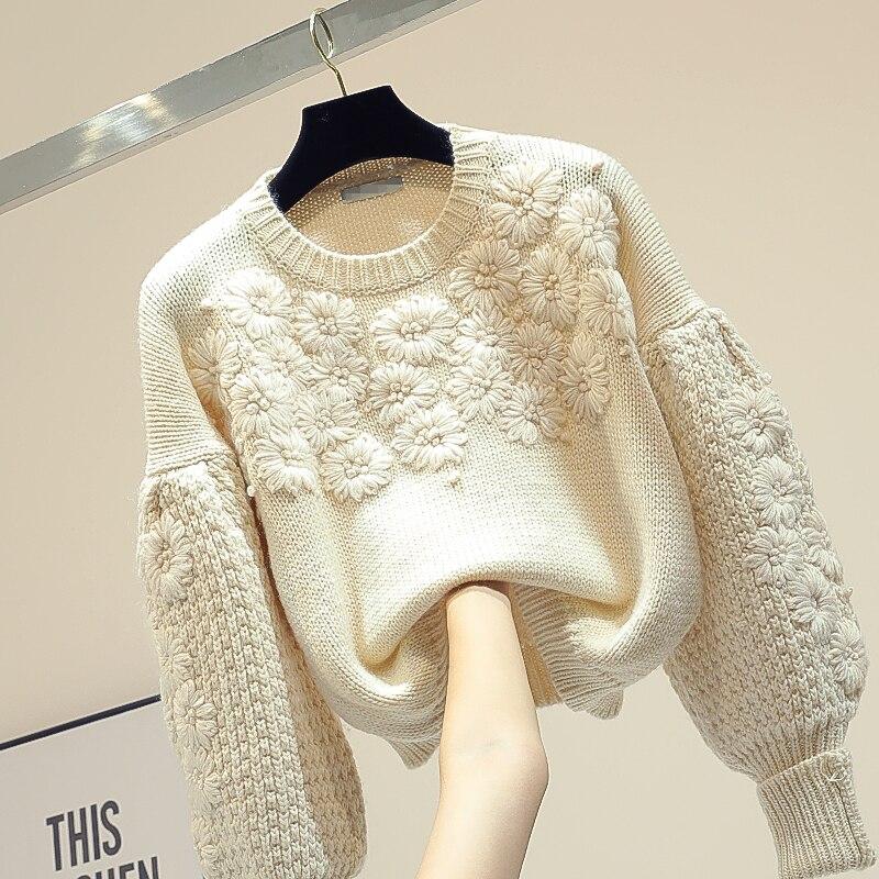 Turtleneck Sweater Female Fall/Winter Wear 2019 New Korean Loose Joker Short Knitted Shirt  Lantern Sleeve Sweater Pull Jumper