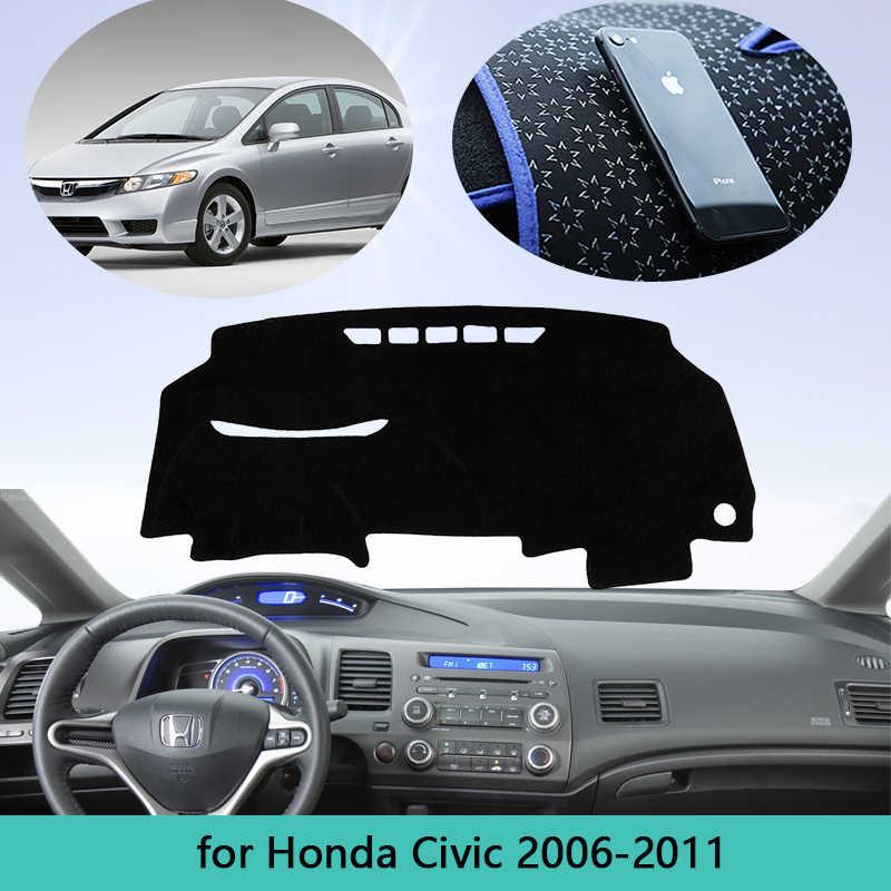 Anti-glare Black Line Maite Fit for Honda Civic 2006-2011 Car Dashboard Cover Dash Mat with Silicone Non-Slip Bottom