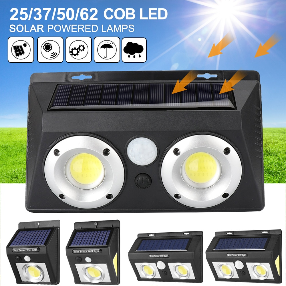 62//132 LED Solar Lights PIR Motion Sensor Waterproof Outdoor Street Garden Lamp