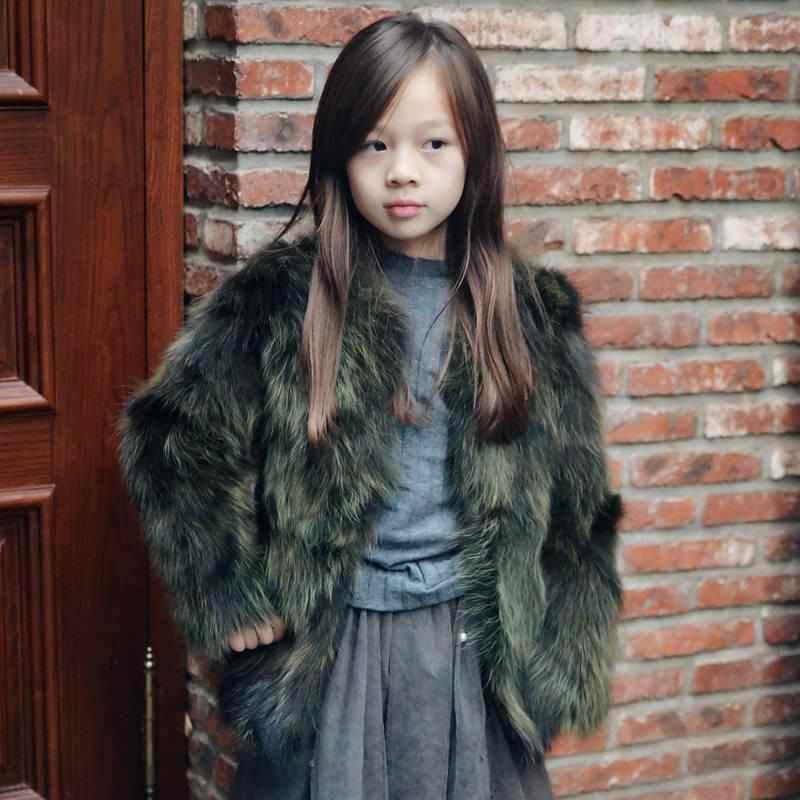 2019 新ファッション冬の子供の女の子本物のアライグマの毛皮コート服の子供の女の子厚く暖かい毛皮のジャケット上着 W202