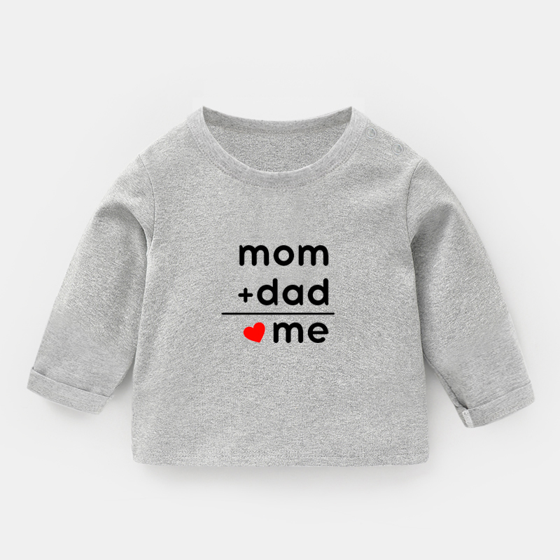 Formula Dad + Mom = Me Print Tee <font><b>Baby</b></font> <font><b>Long</b></font> <font><b>Sleeve</b></font> T-<font><b>shirts</b></font> Cotton Kids T <font><b>Shirt</b></font> Tops Girl Boy Gift Childs Funny Christmas Present image