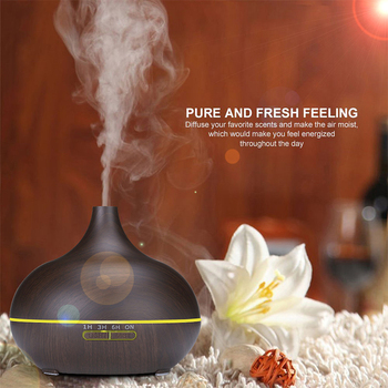 New 550ml Electric Ultrasonic Humidifier  Essential Aroma Oil  Diffuser Wood Grain Air Humidifier USB Mist Maker with LED Light saengq electric humidifier essential aroma oil diffuser ultrasonic wood grain air humidifier usb mini mist maker led light for