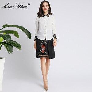 Image 4 - MoaaYina Fashion Designer Set Spring Autumn Women Long sleeve Beading Pearl Shirt Tops+Ruched Skirt Elegant Two piece set