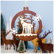1pcs Christmas Tree Ornament Hollow Wooden Hanging Wood Pendants Santa Claus Angel For Home Decorations