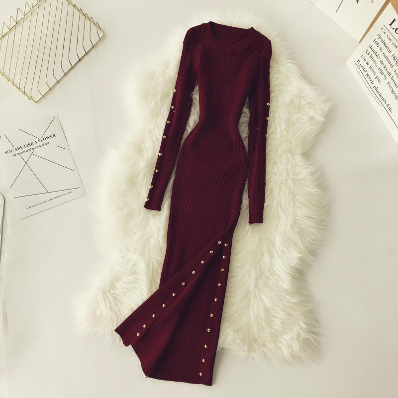 Fashion Bodycon Dress Women Slim Long Sleevd Autumn Winter Knit Long Robe 2019 New Ladies Rivet Baisc Sweater Dresses Vestidos