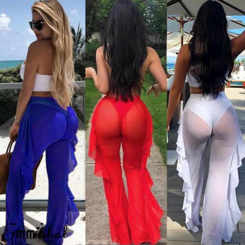 2020 نساء شاش شفاف كشكش بناطيل الشواطئ ملابس الشاطئ التستر بنطلون شير موخير عالية الخصر شبكة بناطيل الشواطئ