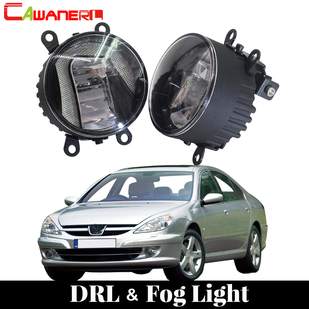 Cawanerl Car LED Bulb Fog Light Daytime Running Lamp DRL White 12V Styling For <font><b>Peugeot</b></font> <font><b>607</b></font> (9D, 9U) Saloon 2000-2006 image