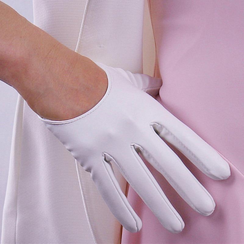 Women's short design sheepskin gloves thin genuine leather gloves touch screen white motorcycle glove