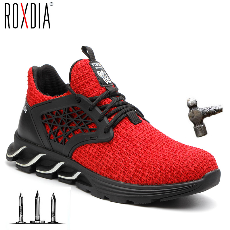 Steel Toe Cap Men Safety Boots Fashion Plus Size 36-48 Women Work Sneakers Casual Male Shoes ROXDIA Brand RXM162