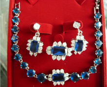 919 +++ wholesale noble blue crystal perfect match design earrings necklace & ring(#7.8.9) jewelry set(China)