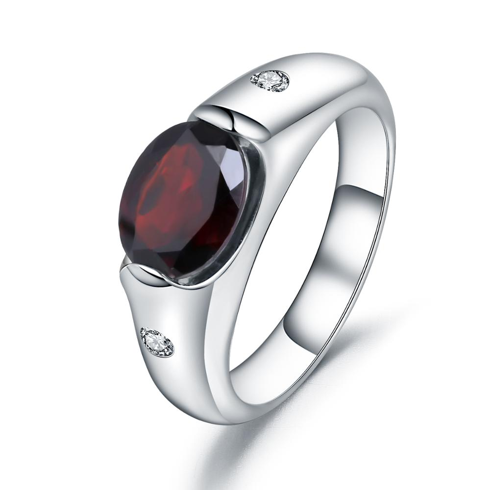 GEM'S BALLET 2.21Ct Natural Oval Red Garnet Vintage Ring 925 Sterling Silver Gemstone Simple Ring For Women Wedding Fine Jewelry