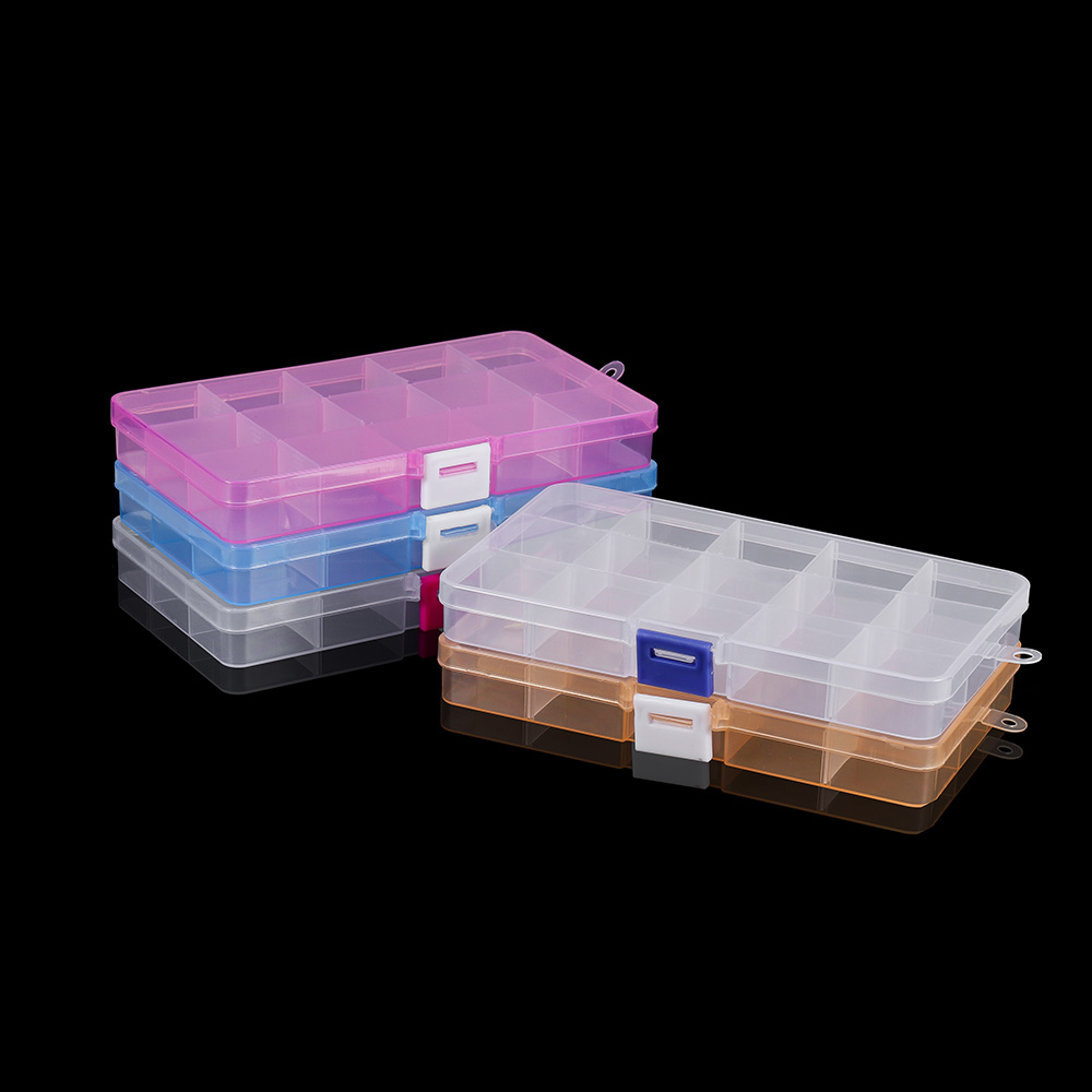 15 Slots ( Adjustable) Rectangle Plastic Jewelry Box Case Craft Jewelry Organizer Container For DIY Earrings Beads Storage Boxs