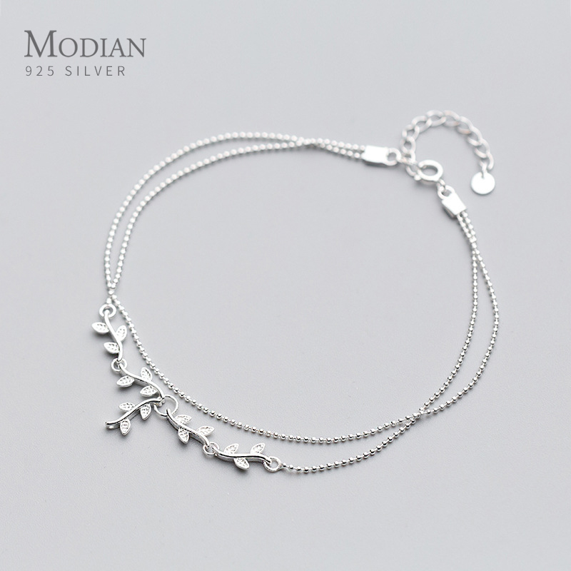 Modian Fashion Sterling Silver 925 Plant Anklet for Women Tree Branch Leaves Tiny Ball Simple Anklet Fine Jewelry 2020 New
