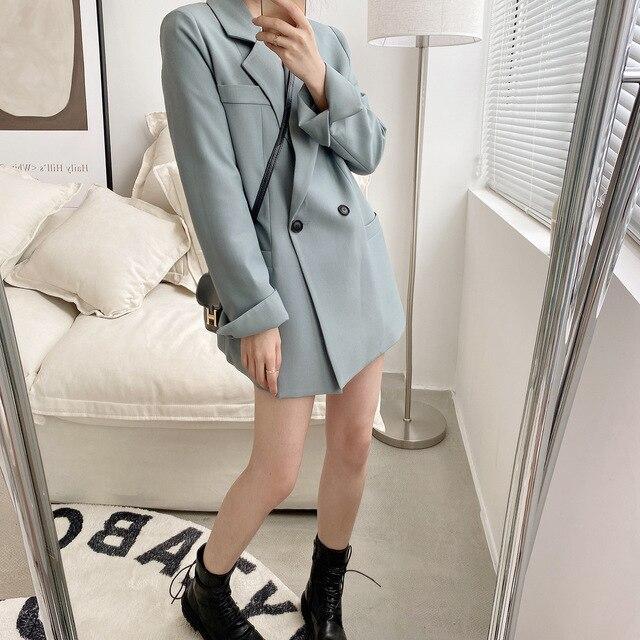 Automne couleur unie élégant bleu Blazer femmes veste femmes Style coréen lâche col en v à manches longues Cardigan 2