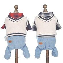 цена на Autumn Dog Jumpsuit Plaid Denim Overalls for Dogs Vest can be Detachable Clothes Dog Sweaters 2 Color XS S M L XL