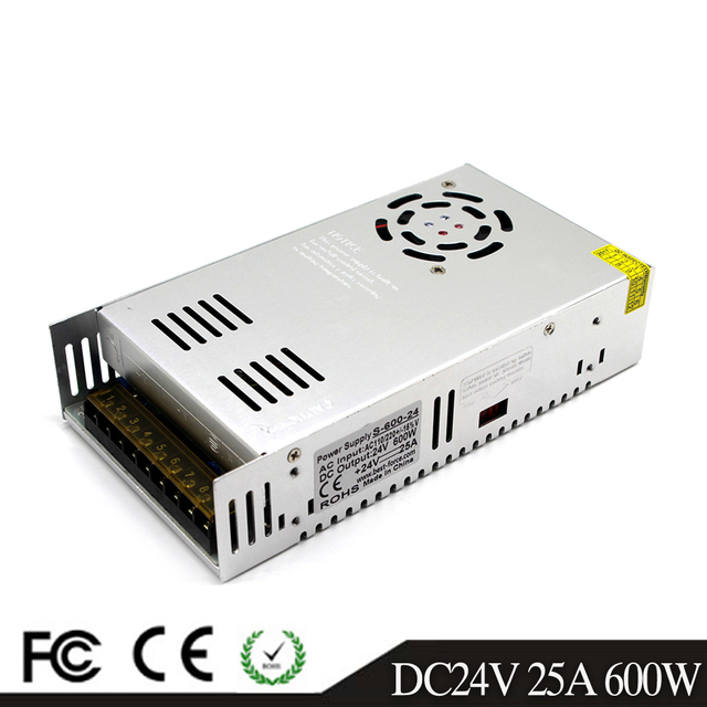 Tek çıkışlı anahtarlama güç kaynağı 600W 24V 25A sürücü Transformers AC110V 220V DC24V SMPS için Led lamba CCTV 3D yazıcı