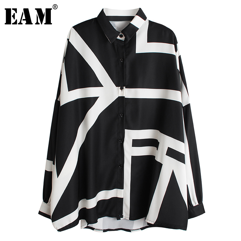 [EAM] Women White Pattern Print Split Big Size Blouse New Lapel Long Sleeve Loose Fit Shirt Fashion Spring Autumn 2020 1R200