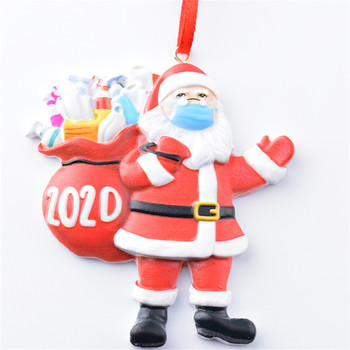 2020 Christmas Ornament Santa Wearing A Face Mask Decorate Christmas Tree Funny Xmas Decorations Crisis Pendant New Year Gift image