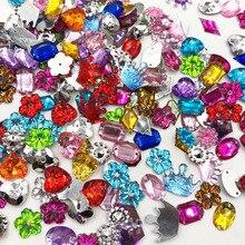 100 шт Смешанные стильные стразы с плоской задней стороной акриловые камни хрустальные камни Швейные бусины T01