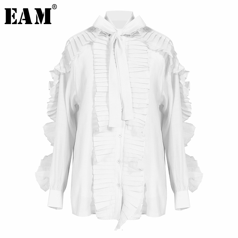 [EAM] Women Blue Pleated Ruffles Two Piece Blouse New Bow Collar Long Sleeve Loose Fit Shirt Fashion Spring Autumn 2020 1S549