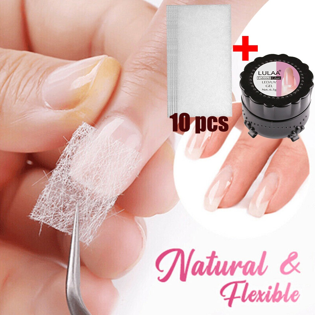 Fiber Base Coat Nail Gel Strengthening Repairing Broken Nails Non-woven Silk Fiberglass Gel Tips Extension Fiber Glass Form Set