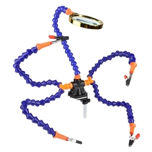 Helping Hands Third Hand Soldering Tool 6 Flexible Arms Five Arm Soldering Station With Magnifying Glass Fan