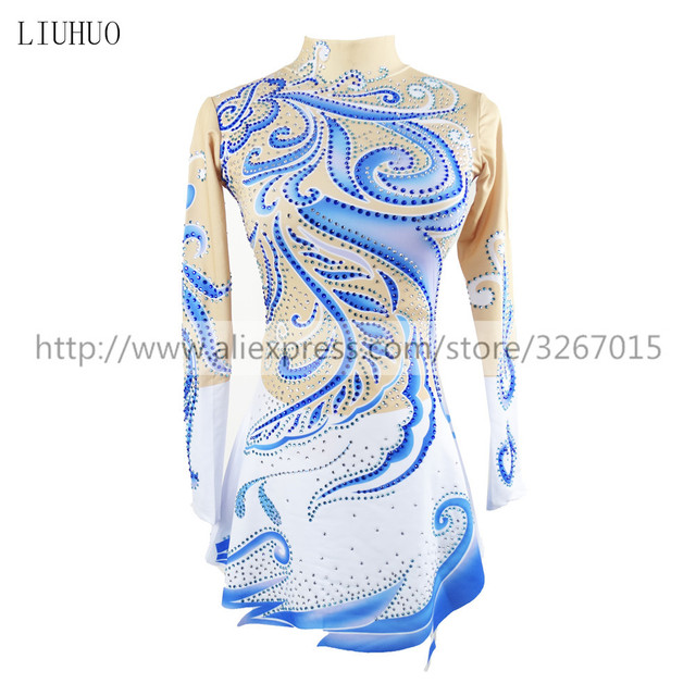 LIUHUO Competition Figure Skating Dress Womens Girls Ice Skating Dress Roller skating long sleeve Adults Kids StandcollarBlue