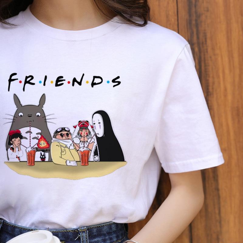 Totoro Harajuku Ullzang T Shirt Women Studio Ghibli Kawaii T-shirt Miyazaki Hayao Funny Cartoon Tshirt Cute 90s Top Tees Female(China)