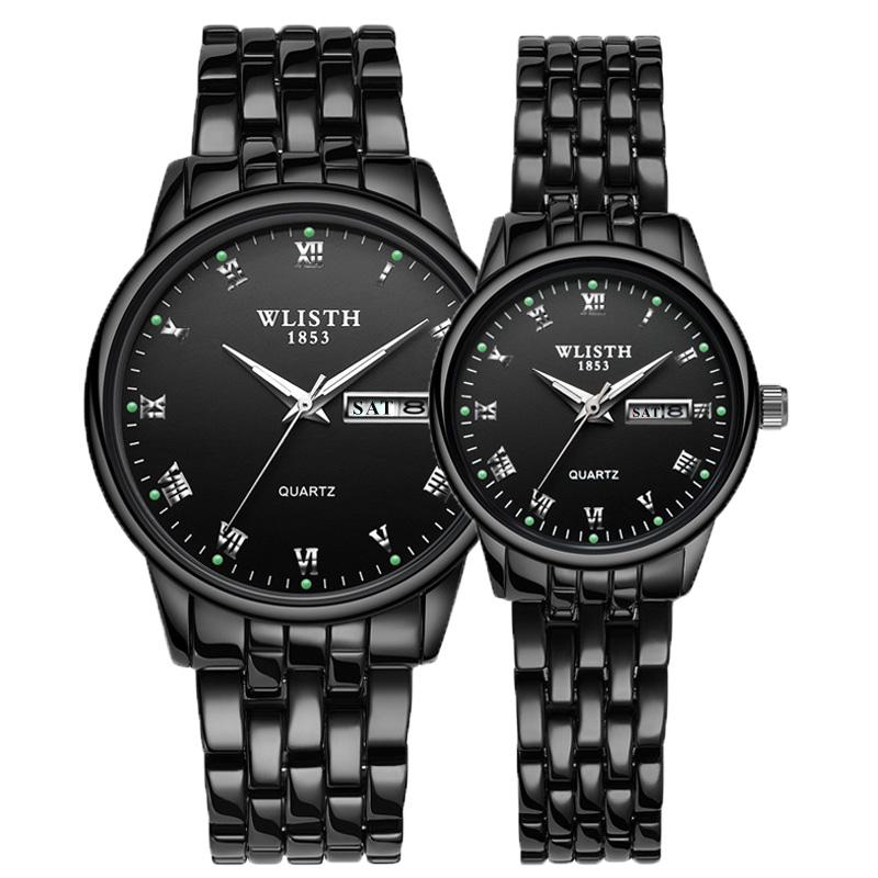 WLISTH 2020 Luxury Brand Lover Watch Women Waterproof Couples Watches Female Wristwatches Quartz Men Stainless Steel Watch 1Pair