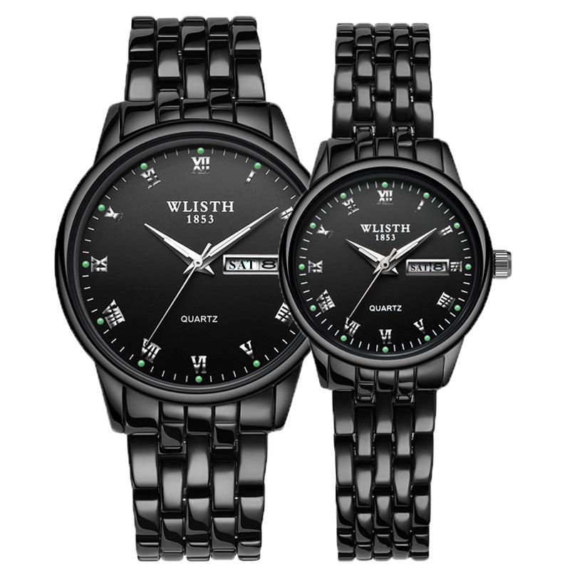 WLISTH 2020 Luxury Brand Lover Watch Women Waterproof Couples Watches Female Wristwatches Quartz Men Stainless Steel Watch 1Pair