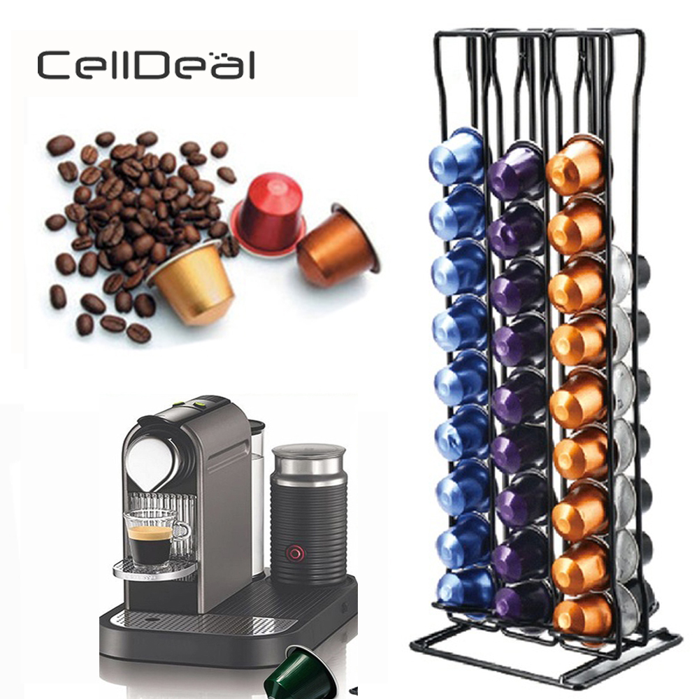 CellDeal Practical Coffee Capsule Holder Coffee Pod Holder Tower Stand For 60 Nespresso Capsules Storage Soporte Capsulas Shelve
