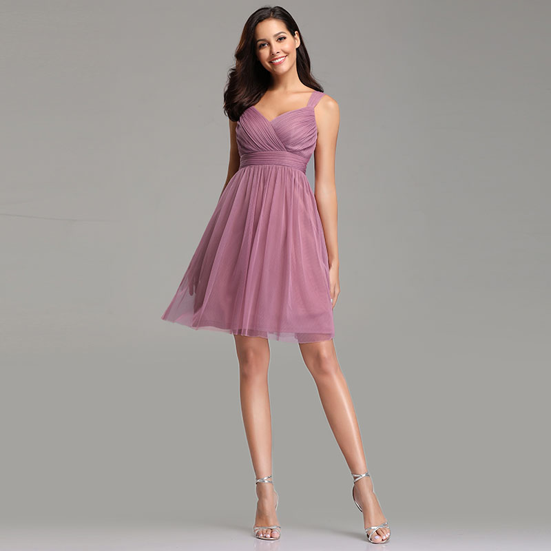 Bridesmaid Dresses A-line V-neck Knee-length Backless Criss-Cross Wedding Guest Party Gowns Cheap Long Prom Dress