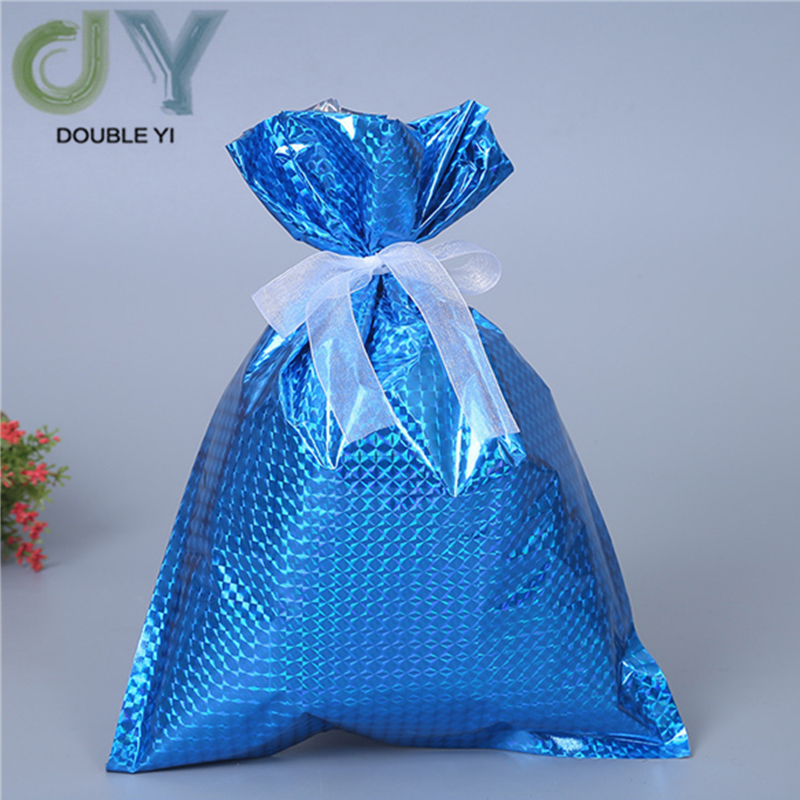 2pcs/pack Christmas Blue Candy Storage Bag For The Elderly Snowflake Bundle Pocket Gift Bag For Children