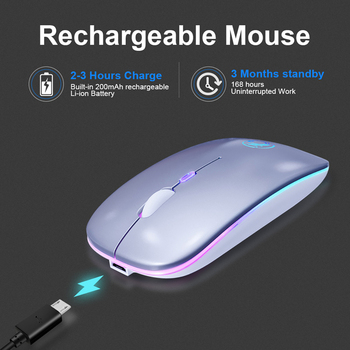 Wireless Mouse RGB Bluetooth 5.0 Mouse Computer Mouse Ergonomic Silent Mause Rechargeable Luminous Optical Mice For PC Laptop 4