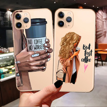 Funda de teléfono de café de princesa para iPhone 11 Pro Max 2019 chica de moda mamá bebé suave para iPhone X 7 8 Plus XR XS Max(China)