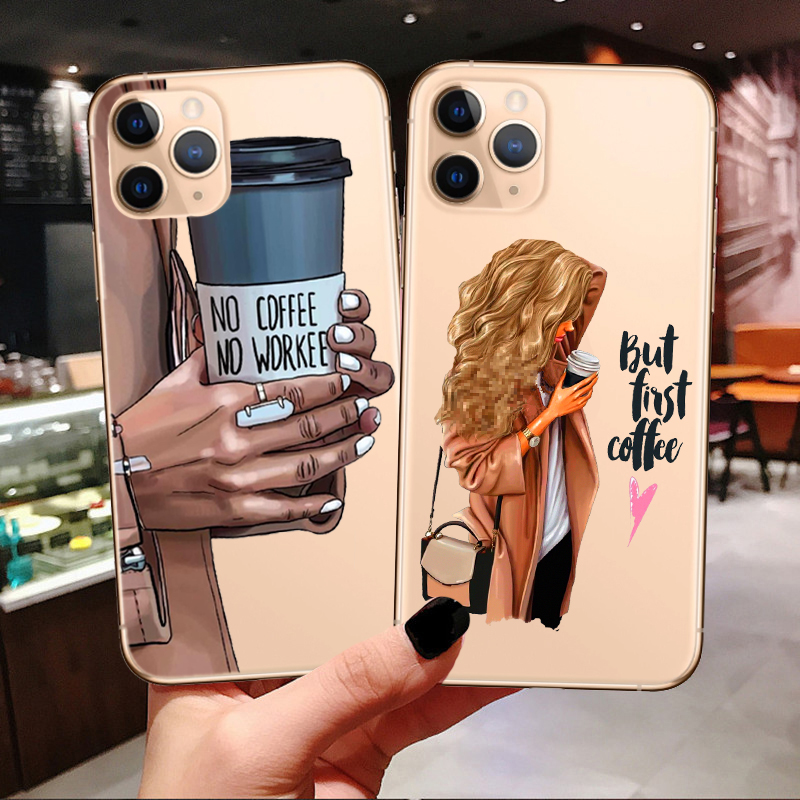 Princess Female boss coffee Phone Case For iPhones 11 Pro Max Vogue Christmas girl Soft Cover For iPhones SE 7 8 Plus XR XS Max(China)