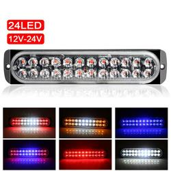 1Pc 24 LED 72W Ultra-thin Strobe Light Car Motorcycle Truck Side Emergency Warning Flashing Lamp Truck Trailers Light Flasher