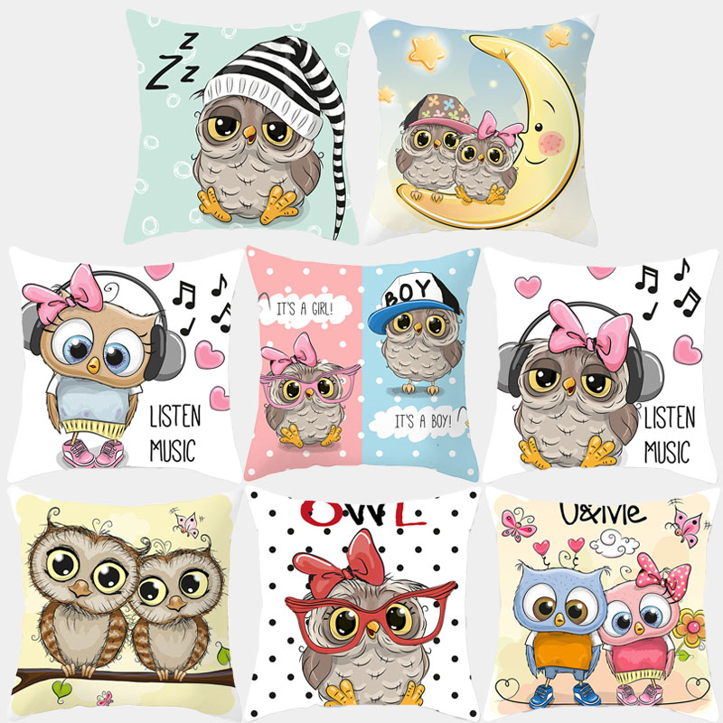 Cartoon Cushion Cover Pillow Case Cute Owl Printed Polyester Decorative Pillowcovers Sofa Cushion Square 45*45 Throw Pillow