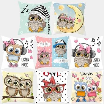Cartoon Cushion Cover Pillow Case Cute Owl Printed Polyester Decorative Pillowcovers Sofa Cushion Square 45*45 Throw pillow cartoon christmas square cushion throw pillow case