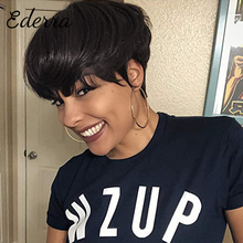Short Human Hair Wigs Pixie Cut Straight Brazilian Hair for Black Women Machine Made Highlight Color Cheap Glueless Wig